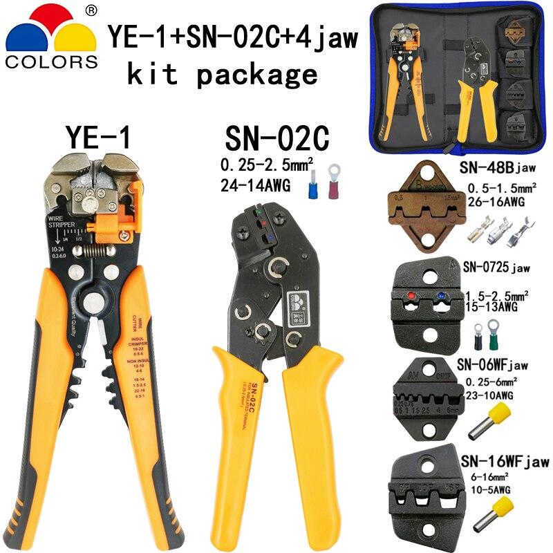 Farben Sn-02c Crimpen Zange 0,25-2.5mm2 14-24awg Für Isolierung Nicht-isolierung Terminal Mit Sn-48b/0325/06wf /16wf 4 Backe Werkzeuge GroßE Auswahl; Handwerkzeuge