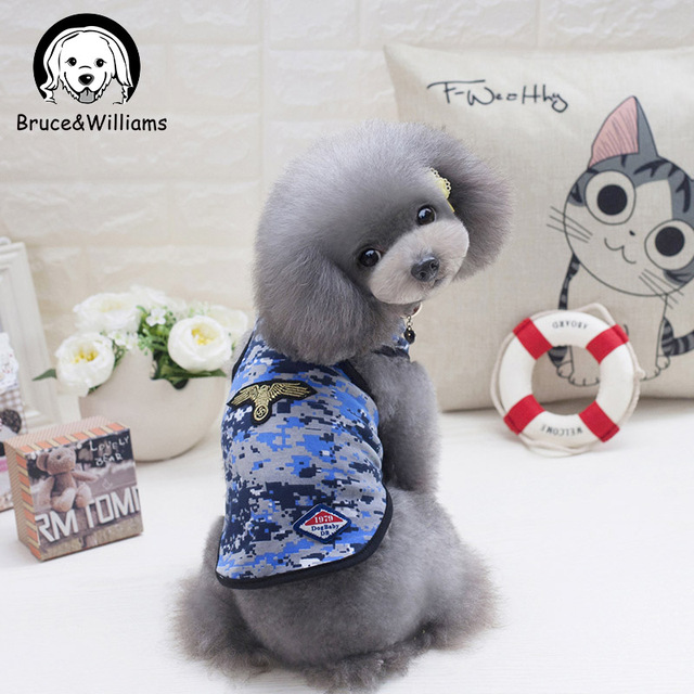 60e44870dec9a Bruce&Williams Summer Navy Blue Dog Vest Camouflage Dog Clothes Soft Dogs  Costume For Small Medium Puppy Camouflage Coat DC639