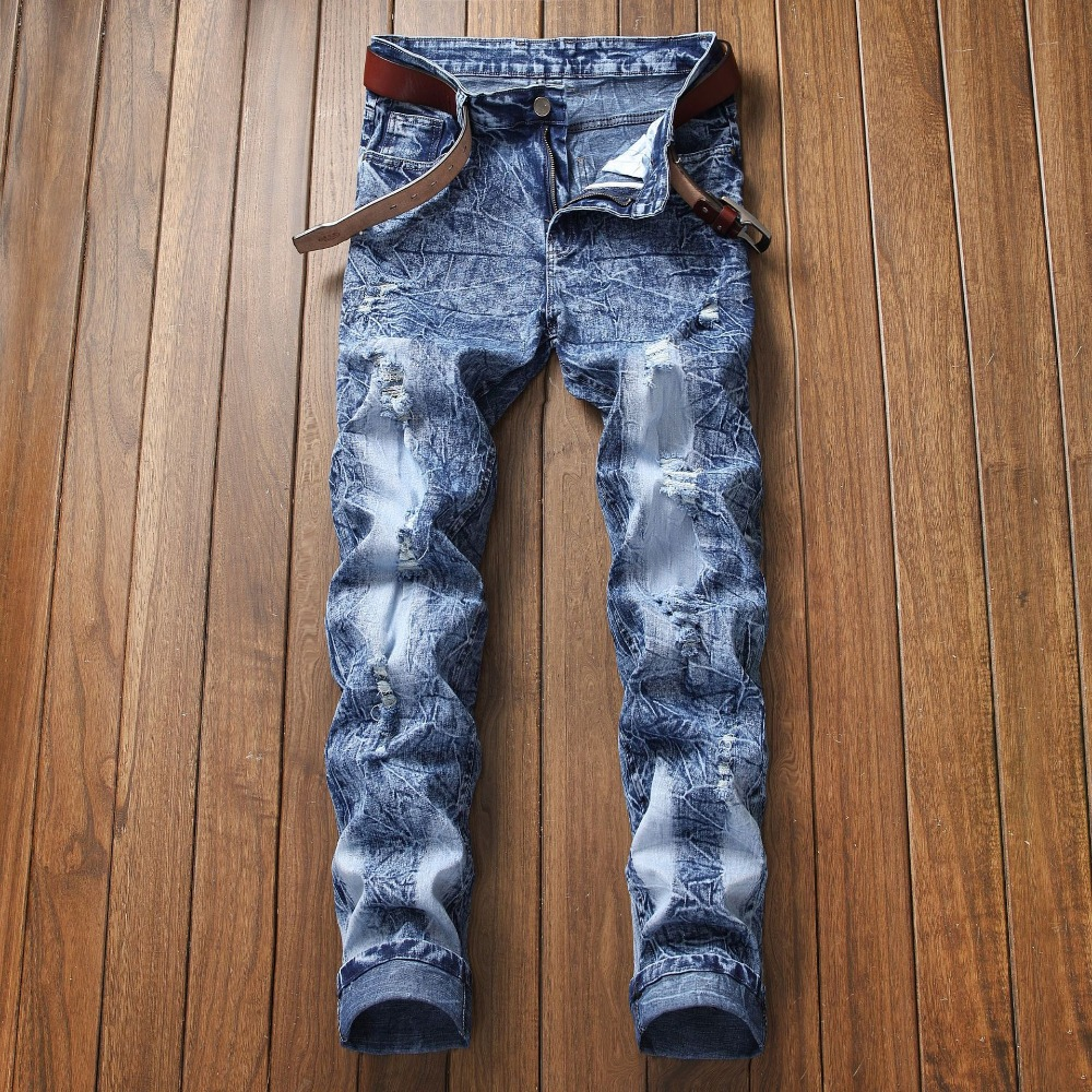 Hot Men's Destroyed Frayed Jeans Ripped Distressed Skinny Slim Fit Denim Jeans Tapered Pencil Pants Light Blue Trousers Jeans