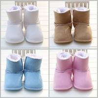 Free Shipping Newborn Snow Boots 2015 Winter Suede Baby Boy Girls Shoes Soft Warm Kids Toddler