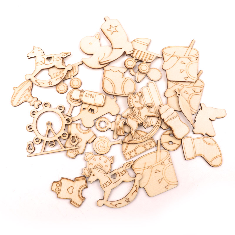Children Handmade Wooden Crafts Home Decoration Accessories Scrapbooks Painting DIY Mixed Baby Pattern Ornaments 45-50mm 20pcs