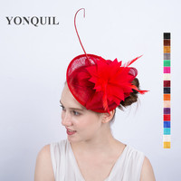 2017 New Arrival Charming Sinamay Party Hair Fascinators Hat With Fancy Feather Flower Headpiece On Hair
