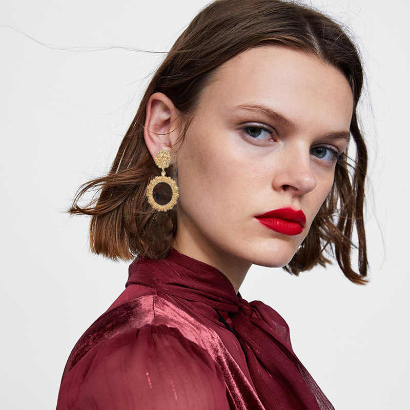 Boho Statement Jewelry Simulated Pearl Heart Earrings Round Square Geometric Earrings Metal Earrings Za Gold Vintage Earrings