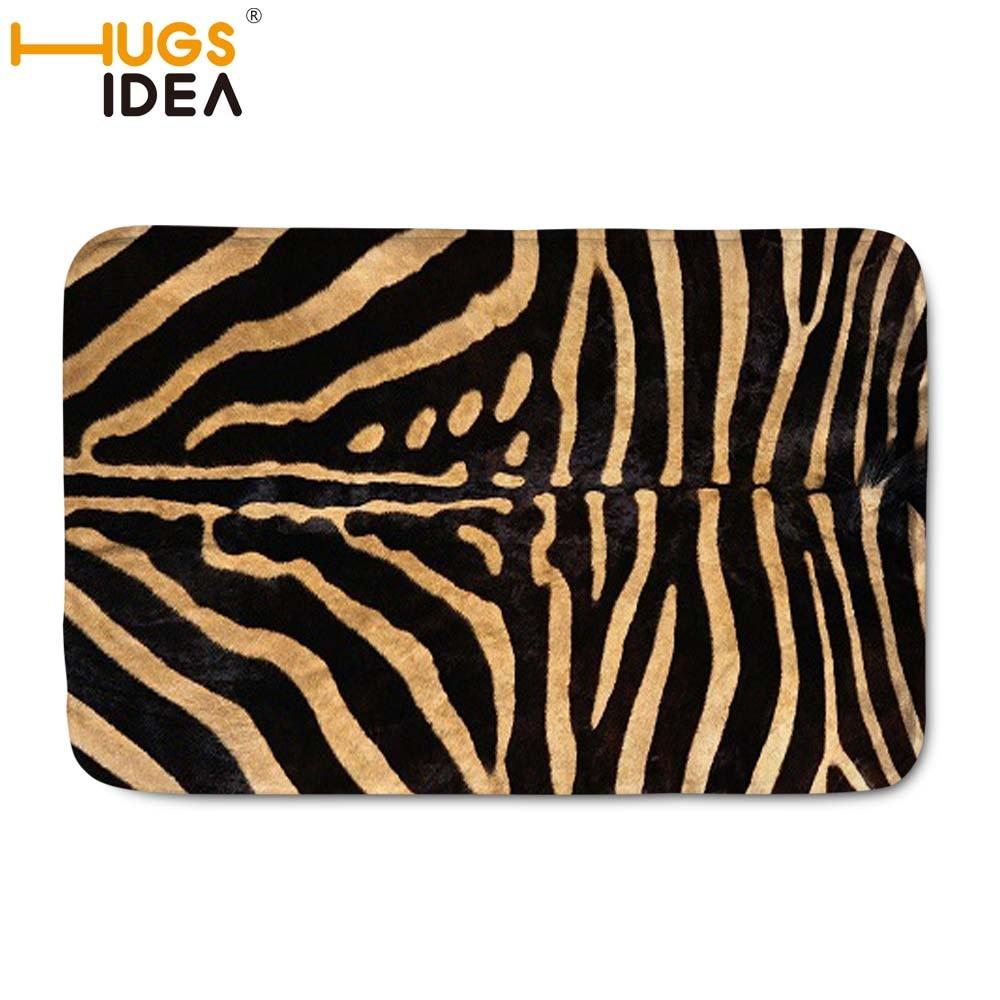 HUGSIDEA 59*40CM 3D Print Zebra Carpet Rug Black White