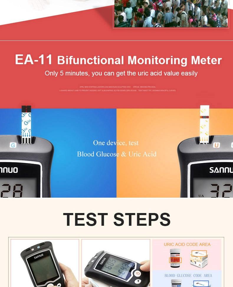 Sinocare EA 11 ácido úrico & teste
