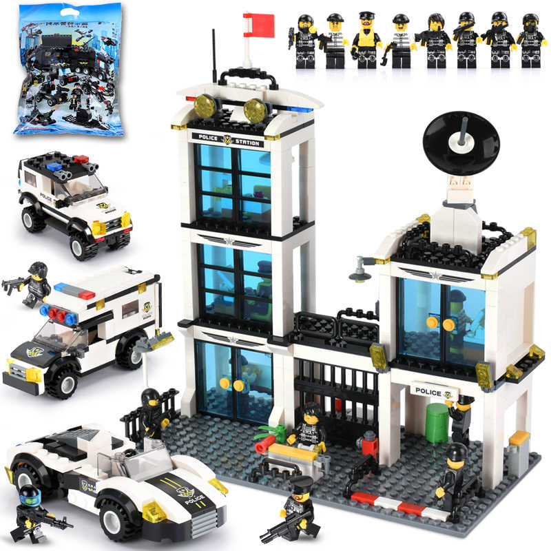 City Building Blocks Police Station Model Blocks Maritime Building Block Figures Bricks Toys For Children