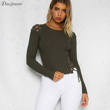 Danjeaner Spring Autumn Women Lace-up Thin Sweaters and Pullovers Sexy Slin Fit Short Solid Tops Plus Size Pull Femme Hiver