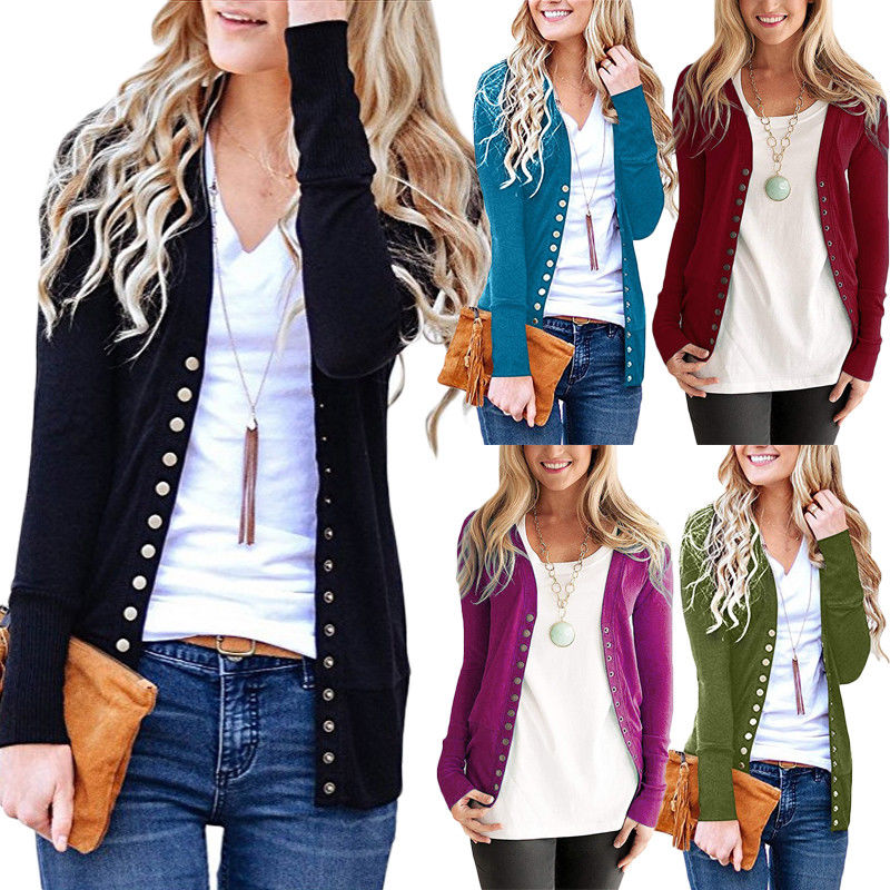 Women Knitted Cardigan Coat Autumn Winter Casual V-Neck Long Sleeve Snap Button Crochet Knit Sweater Coat Female Tops Outfits