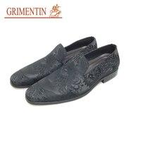 GRIMENTIN/итальянская модная повседневная обувь; Мужская обувь 2019 года без застежки; Черная Мужская нарядная обувь; Новая Брендовая обувь