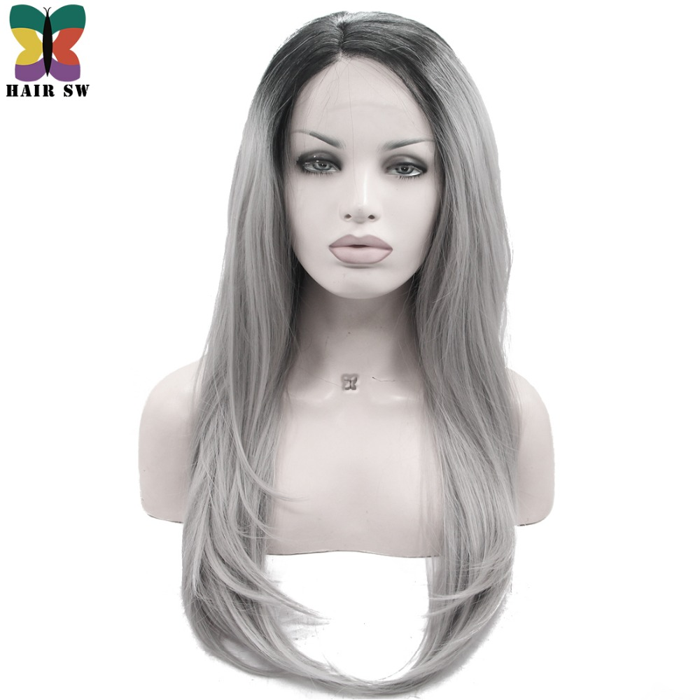 Hair Sw Long Silky Straight Synthetic Lace Front Wig Ombre