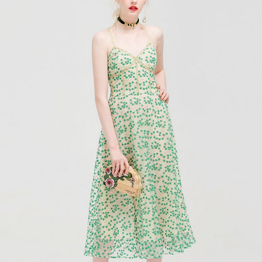 2018 Summer Elegant small fresh Floral Sleeveless Dress Women Vintage Organza Party strap a-line dess