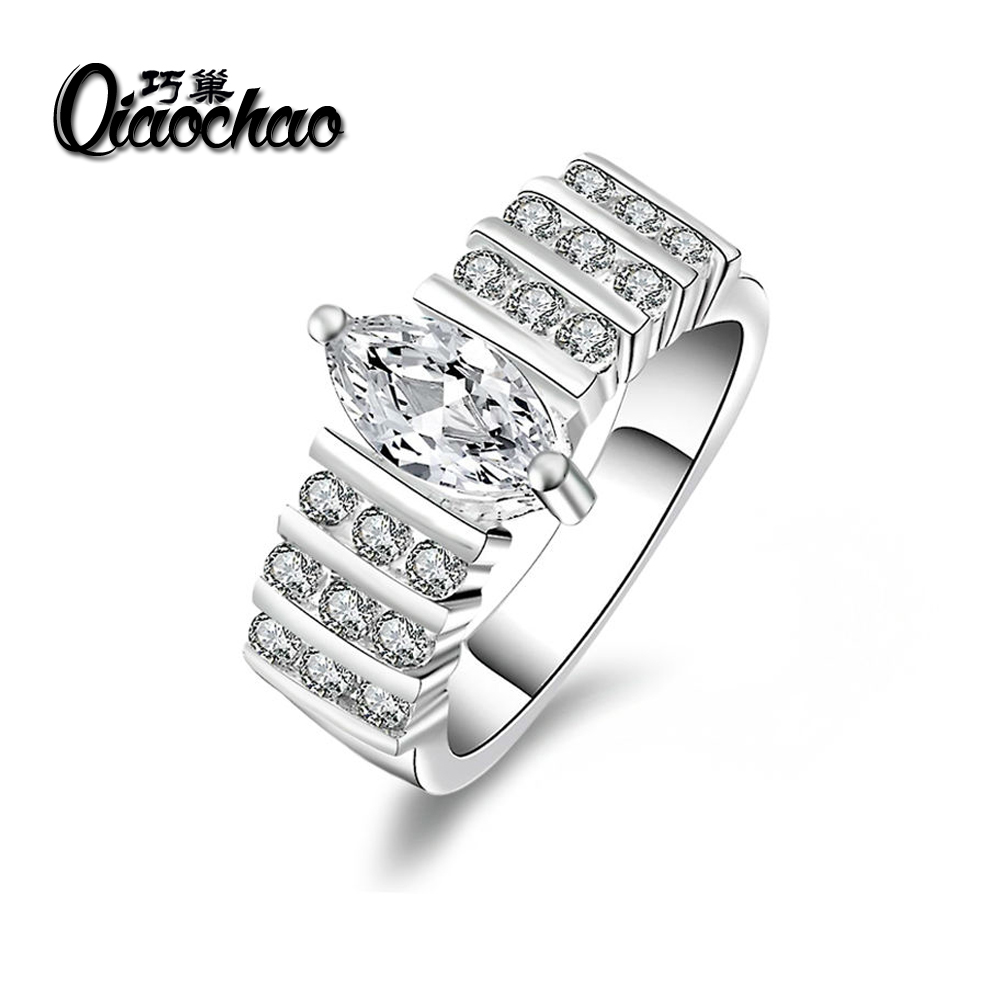 White plated ring 8 Carat Crown AAA CZ Silver beads font b Wedding b font Rings