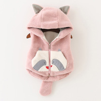 Autumn Winter Velvet Hooded Baby Girls Vests Coats Kids Clothes Toddler Girls Clothing Cute Warm Waistcoats