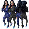 Women Fashion Sexy Sportswear two Piece Set Autumn Zipper Turtleneck casual sweat suit full length rompers Outfits Playsuit