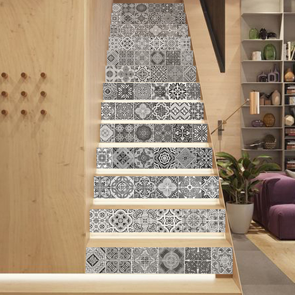Image 3 - 13pcs 3D Ceramic Geometric Tile 3D Stairway Stickers Ceramic Tile Pattern for Room Stairs Decoration Home Decor Floor Wall Stick-in Wall Stickers from Home & Garden