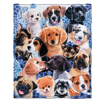 Puppy Collage Fleece Throw Custom Soft Blanket by Jenny Newland Adult Christmas Blanket Mexican image