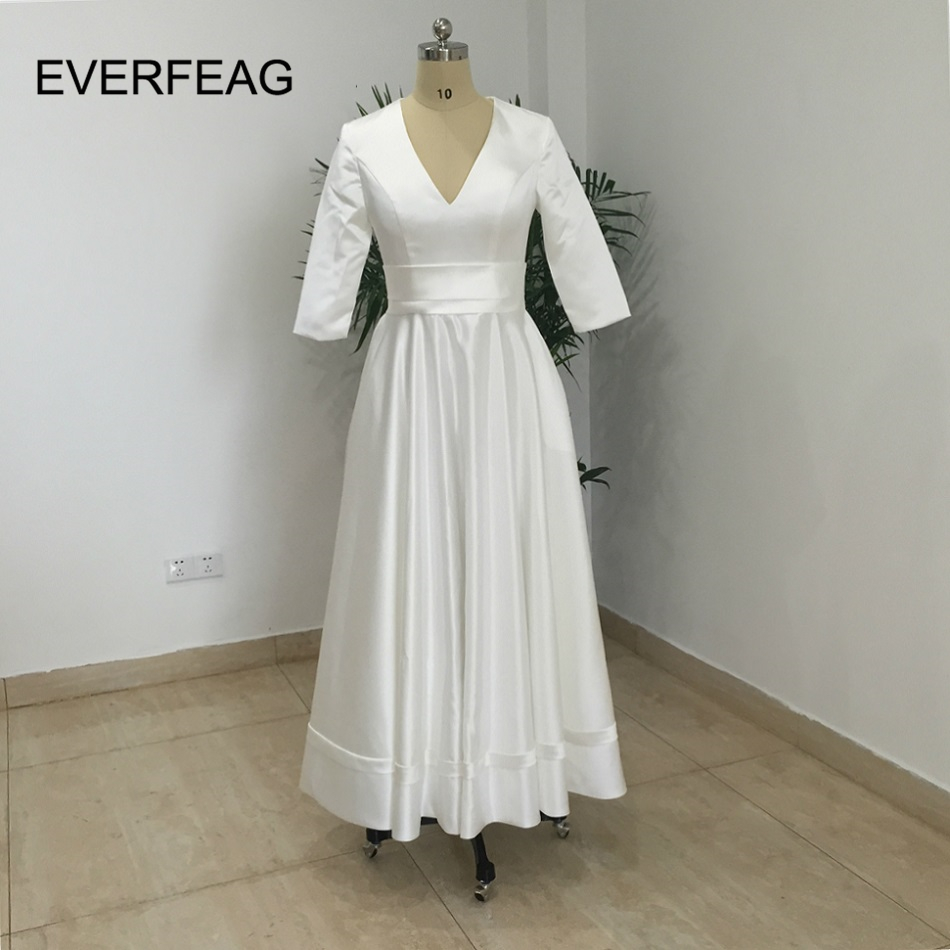 Vintage 1950's Tea Length Short Wedding Dress Half Sleeves