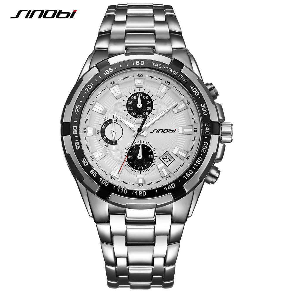 SINOBI Relojes Hombre 2017 Masculino Top Brand Luxury Business Quartz Watch Chronograph Mens Watches Man Waterproof Wristwatch burei men watch stainless steel sapphire glass quartz waterproof wristwatch chronograph analog man business watch relojes hombre