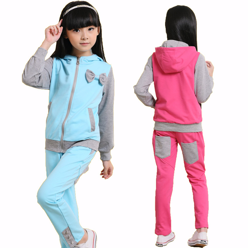 Children Tracksuits for Girls Bow Casual Clothing Sets Long Sleeve Sports Coats+Pants Suit Kid Active Outfits Infant Clothes Set