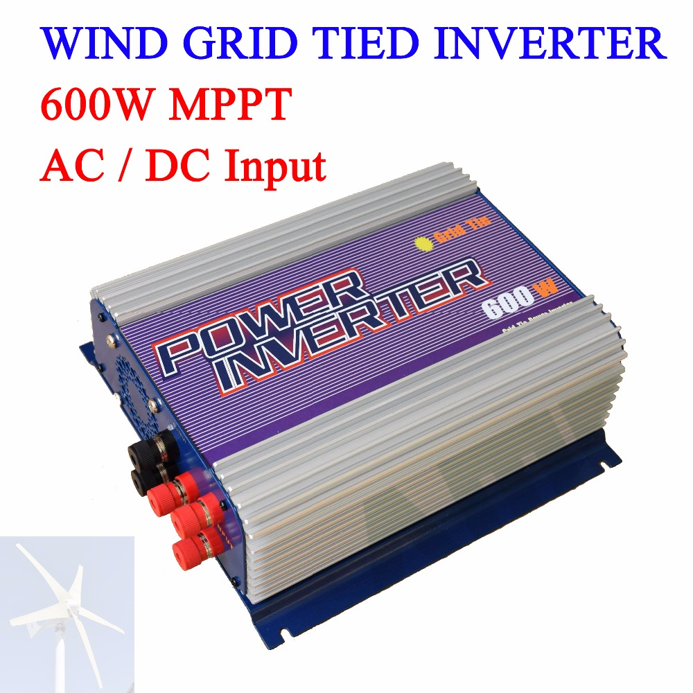 600W MPPT On Grid Tie Wind Turbine Generator Inverter LCD Display Indoor Residential Home Use 5000w single phrase on grid solar inverter with 1 mppt transformerless waterproof ip65 lcd display multi language