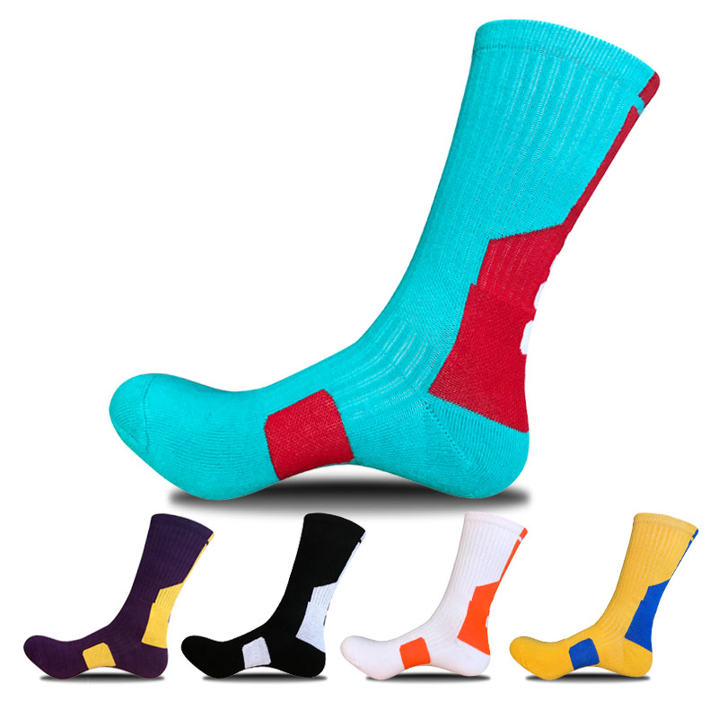 Bendu Men Cotton Compression Basketball Football Socks Breathable Man Outdoors Sock 5 Pairs / Lot