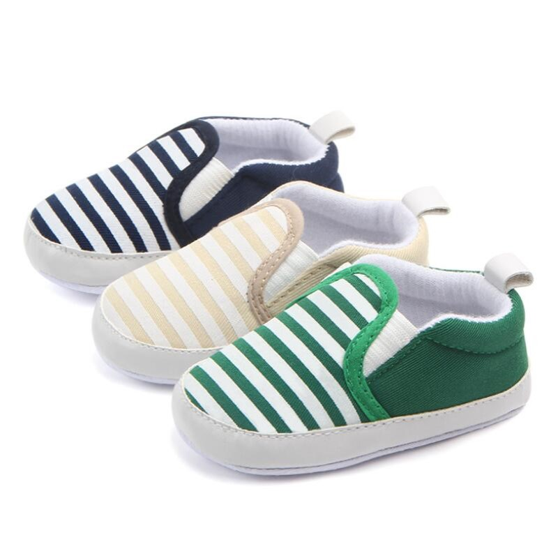 Infant Baby  Boy Shoes Fashion Striped Babyboy Canvas Shoes Newborn Slip -on Casual Shoes For 0-18months Babies
