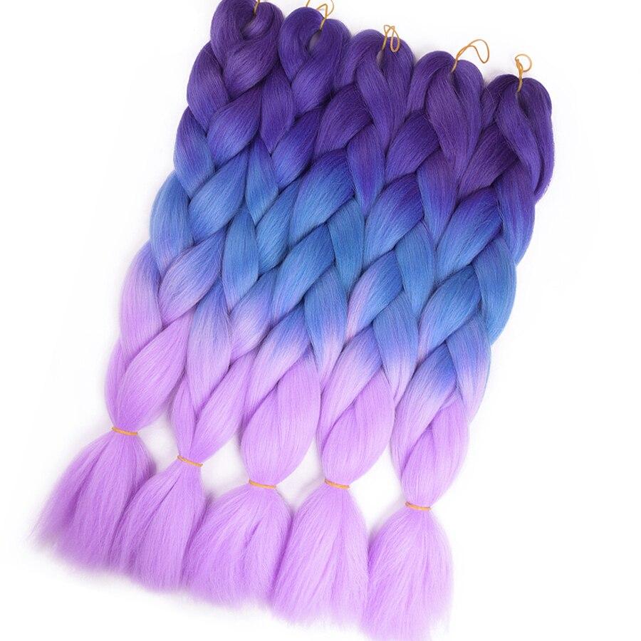 TOMO 24 Ombre Fiber Braiding Hair Extensions 100g Two Tone Crochet Braid Hair Synthetic Jumbo Braids 100 Colors