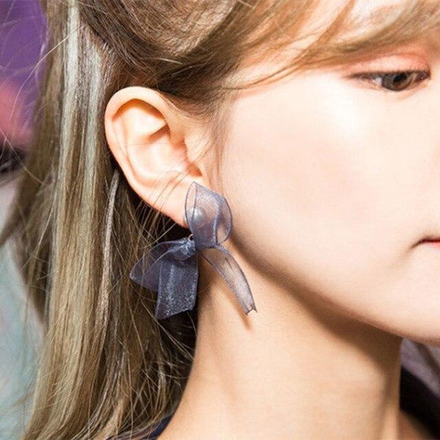 8seasons Fabric Earrings Steel Gray Ribbon Bowknot Acrylic Imitation Pearl 6mm 2 8