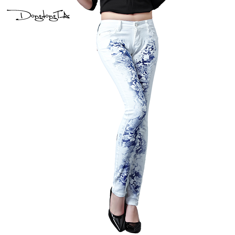 Dongdongta New Jeans Women Girls 2017 Ny originaldesign Mid midja Vit - Damkläder - Foto 2
