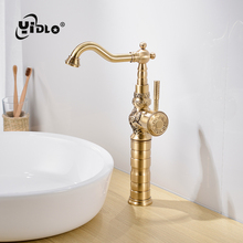 Hot Sale Basin Faucets Deck Mounted Single Handle Hole Bathroom Mixer Tap Antique Bronze Crane & Cold Water A2