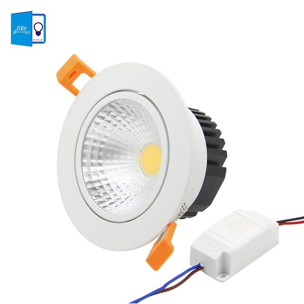 dbf anti glare recessed led dimmable downlight cob chip 5w 7w 9w 12w led spot light led. Black Bedroom Furniture Sets. Home Design Ideas