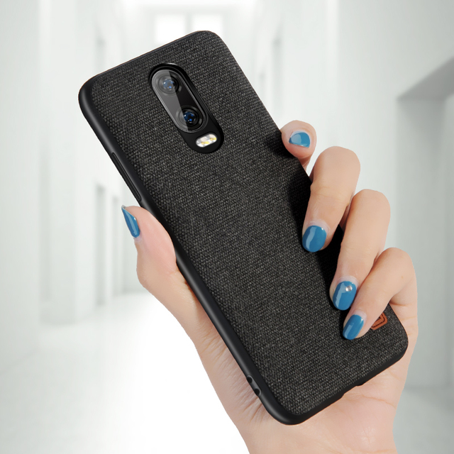 MOFi OnePlus 6T Luxury Fabric Shockproof Back Case Cover