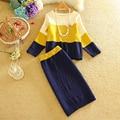 Mujeres Suéter Y Falda Set 2016 Otoño Tops + Faldas Cortas Europa Delgada de Manga Larga Traje de Punto Twinset de Las Mujeres ropa