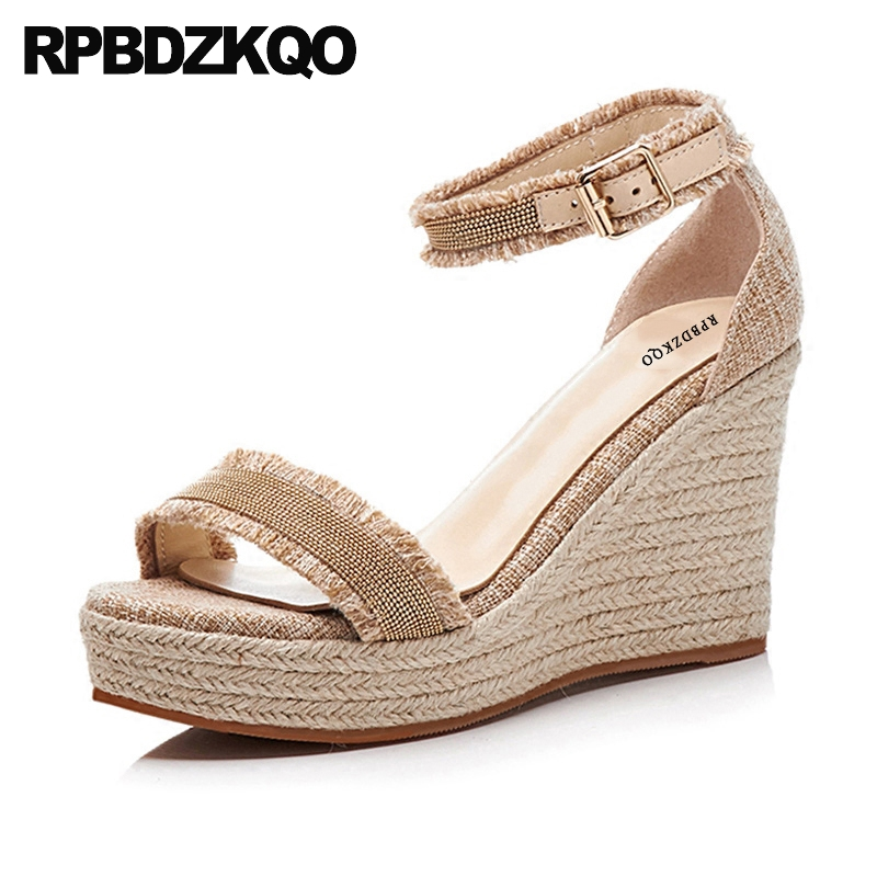 2018 Shoes Wedge Sandals High Heels Platform Ankle Strap Fashion Genuine Leather Rope Open Toe Women Ladies Summer Canvas Pumps yellow pu women wedge heels open toe platform sandals women ankle wrap summer platform ankle women casual shoes ladies