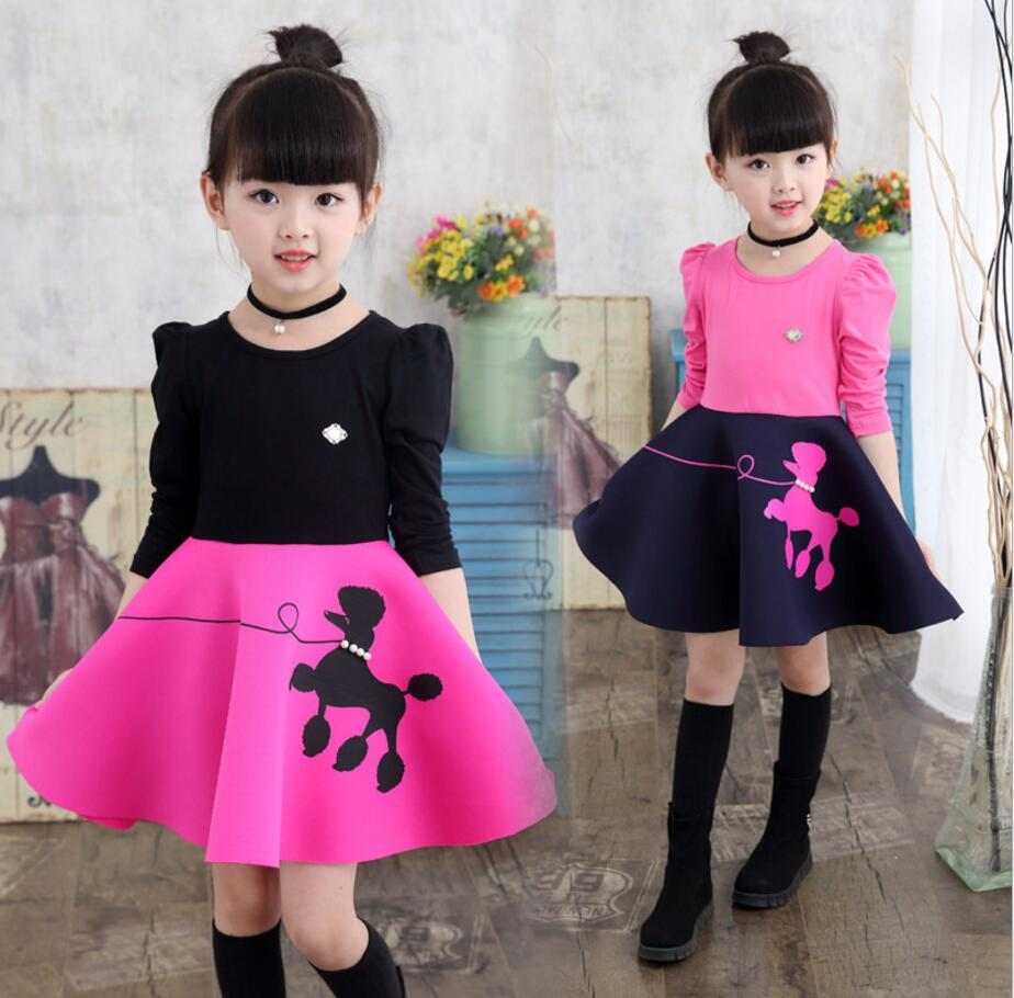 Velvet Kids Girls Dress Winter Long Sleeve Baby Girl Princess Dresses Party Tulle Warm Children Costume Clothes Outfit HB2160 fashion 2016 new autumn girls dress cartoon kids dresses long sleeve princess girl clothes for 2 7y children party striped dress