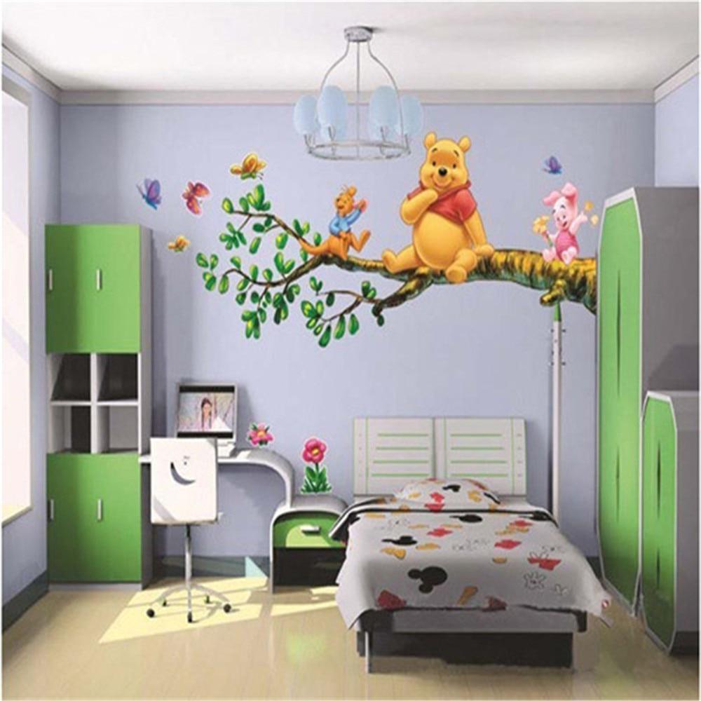 Animal cartoon winnie pooh vinyl wall stickers for kids for Cuarto winnie pooh