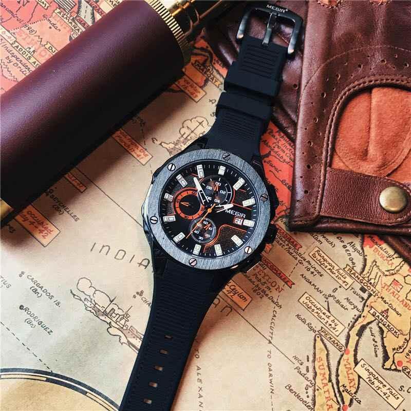 Лидирующий бренд, роскошные мужские спортивные часы MEGIR, хронограф, силиконовый ремешок, кварцевые военные часы с большим циферблатом, мужские часы, Relogio Masculino