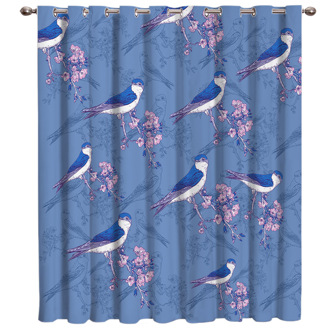 Birds On Plum Blossom Branches Window Treatments Curtains Valance Room Curtains Large Window Window Curtains Dark Living Room
