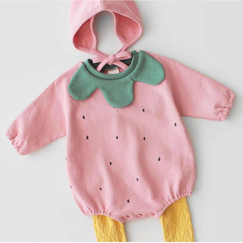 2019 ฤดูใบไม้ผลิเด็กสาว Rompers แขนยาว Jumpsuit + หมวกเสื้อผ้าฟักทองน่ารักการสร้างแบบจำลอง Rompers เด็กทารกเสื้อผ้า