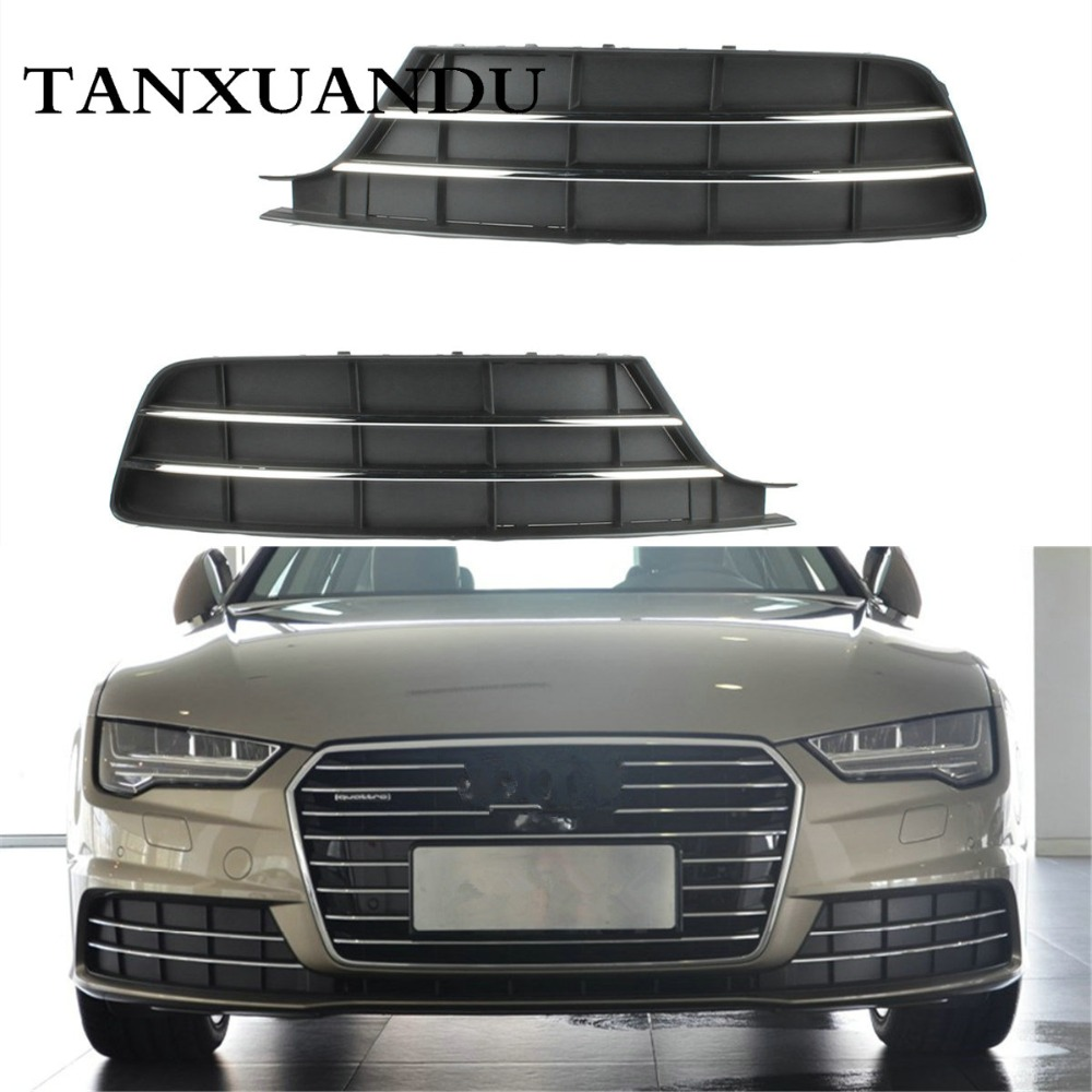 Front Bumper Lower Fog Light Lamp Grill Outer Grille For AUDI A7 A7 Quattro 2016 2018