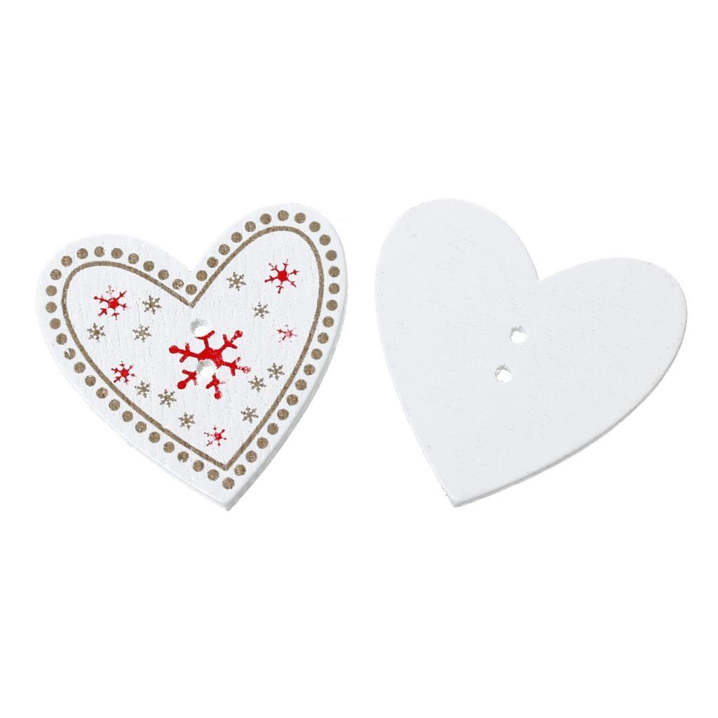DoreenBeads Wood Sewing Button Scrapbooking Heart White 2