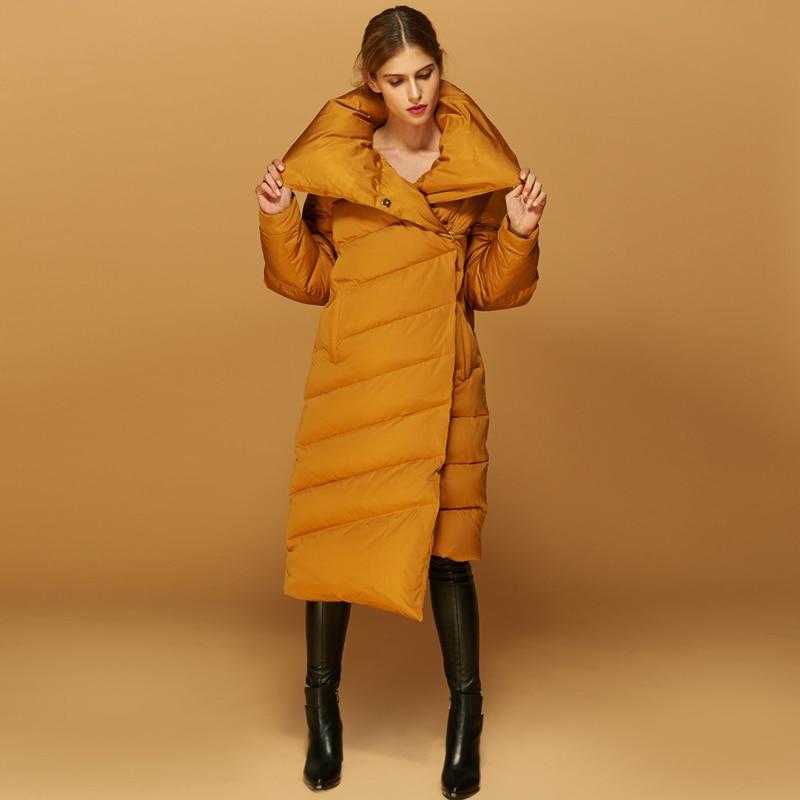 YNZZU High Quality European Chic Women Winter Jackets Long Thick Warm White Duck   Down     Coats   Comfortable Bread Outwear   Coats   O020
