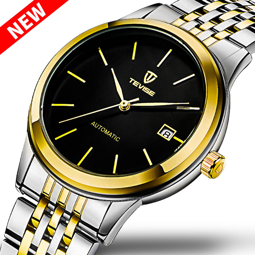 Relogio Masculino Brand TEVISE Watch Men Luxury Gold Stainless Steel Automatic Mechanical Watches Waterproof Calendar Male Clock tevise fashion mechanical watches stainless steel band wristwatches men luxury brand watch waterproof gold silver man clock gift