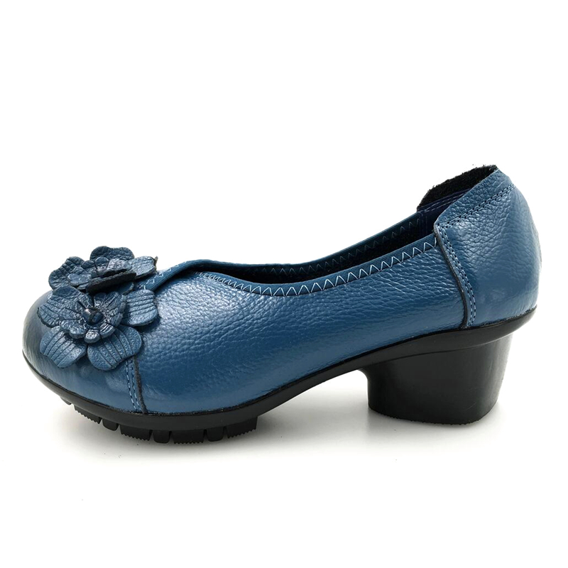 901 Cuero Hecha Abedake blue Bombas Mujeres Individuales Más De Antideslizante red 901 Black Cómodo Zapatos ¡tacón Mano Genuino A Suave 901 Tamaño Mujer xwpfqYREp