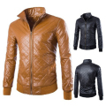 Jaqueta Masculina Couro New 2016 Washed Leather Coat Fashion Pure Color Foreign Trade High Quality PU Jaqueta de Couro 2 Colors