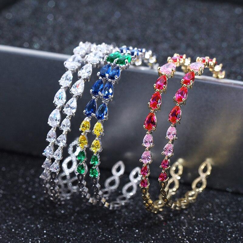 db3491fc950a Cheap Pendientes de aro semiredondos de piedra de cristal Multicolor  brillante XIUMEIYIZU para mujer joyería CZ