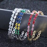 XIUMEIYIZU espumoso Multicolor piedra de cristal Semi aro redondo aretes para las mujeres alta calidad CZ joyería para regalo partido