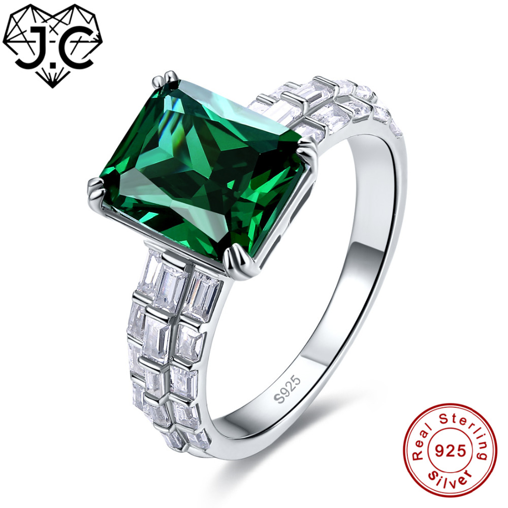 J.C 8*10 mm Big Emerald & Rainbow Topaz Real 925 Sterling Silver Ring Size 6 7 8 9 Unisex Simple But Versatile Fine Jewelry GiftJ.C 8*10 mm Big Emerald & Rainbow Topaz Real 925 Sterling Silver Ring Size 6 7 8 9 Unisex Simple But Versatile Fine Jewelry Gift