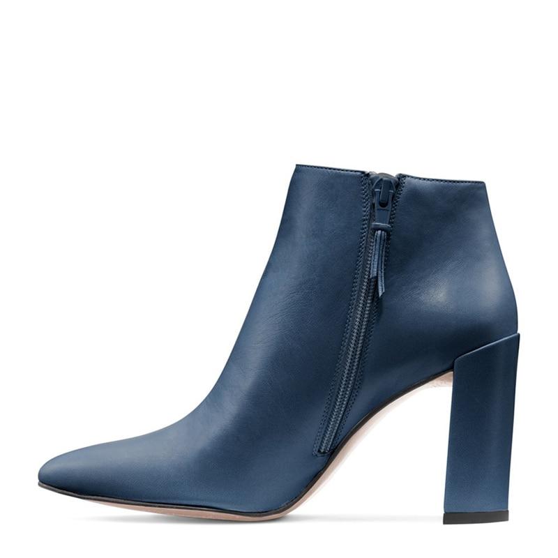 Hauts allumette Pointu Tout Talons Apricot Femmes bleu Classique noir Chaussures Bottes Concise Style Dames Carré Cheville Glissière Latérale Bout Pour SwnxB1qv