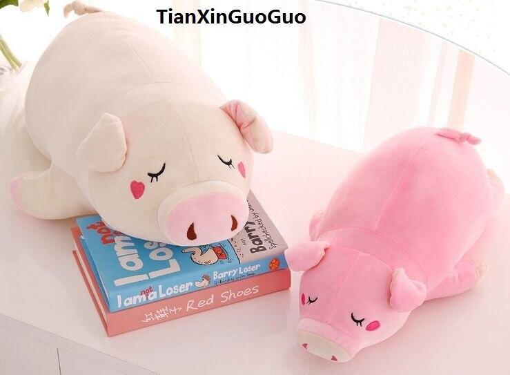 Grand jouet en peluche de cochon de bande dessinée 70 cm joli cochon enclin poupée douce jeter oreiller cadeau de saint valentin b2046